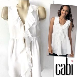 CABI WHITE SILK RUFFLED TUNIC TOP SZ S